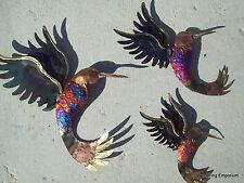 Hummingbirds 3 Copper & Brass Dripped Metal Wall Art 3D Sculpture Home Garden