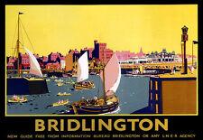 Art ad Bridlington Yachting LNER Tren Ferrocarril de viaje ferroviario cartel impresión