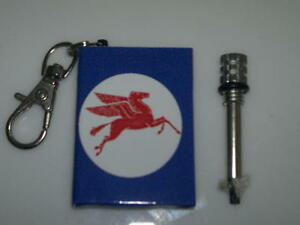 Mobil Petroluem Custom Match Survival Flint Cigarette Lighter Key Ring Camping
