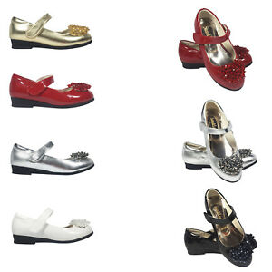 Girls kids Children wedding Bridesmaid Casual Party Shoes Size