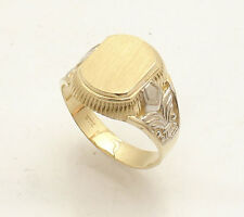 Size 11 Men's Engravable Signet Ring Real Solid 10K Yellow White Two-Tone Gold