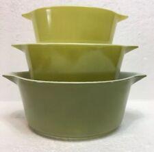 Vintage Pyrex Mixing Bowls Green - 475-B, 474-B, 473 - Nesting Bowls