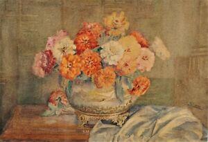 Ancien Tableau / Aquarelle signée E. LIHOREAU  . beau bouquet de fleurs