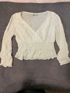 Hollister Ladies White Cropped Blouse Wrap Look Top. Bohemian Size M , 10