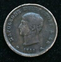 1811 ITALY NAPOLEON REGNO D'ITALIA  3 CENTESIMI COIN 22MM - AU CONDITION