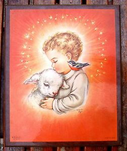 Vintage Mid Century Child Lamb Bird Plaque Charlot Byl 1958 Baby Room Italy PAHC