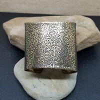 Vintage Brass Floral Tooled Engraved Wide Flex Cuff Bracelet