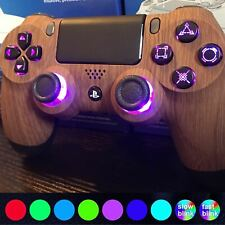 Custom PlayStation 4 Controller - LED color changing buttons - Wood - PS4