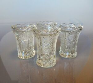 EAPG Pattern J.B. Higbee THISTLE Set of 4 Toothpick Holders by L.G. Wright 1960s
