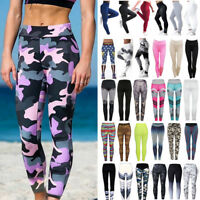 Women's YOGA Workout Gym Print Sports Pants Leggings Fitness Stretch Trousers G1