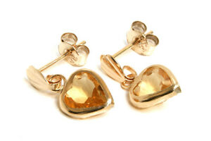9ct Gold Citrine Drop Heart Earrings Made in UK Gift Boxed
