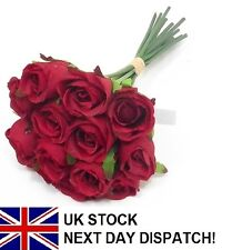 25cm Artificial Rose Silk Flowers 13 Head Floral Fake Valentines Wedding RED