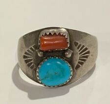 Coral Etched South Western Ring Vintage Navajo Sterling Silver 925 Turquoise