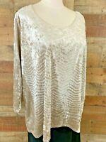 New~$52~BLEEKER & McDOUGAL 2X Women's Plus Tan~Beads 3/4-Sleeve Velour Top Shirt