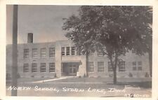 Storm Lake Iowa~North School~Art Deco Building~1940s Real Photo Postcard~RPPC