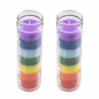 Home Decor Aromatherapy Set of 2 Multi Color Wax Glass Jar Tea Light Candle