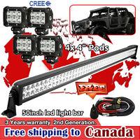 "50 inch LED Light Bar + 4x 4"" CREE LED Pods Work Lights UTE ATV SUV Jeep Ford 3"