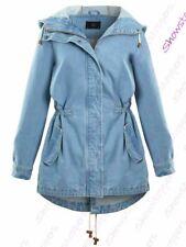 Womens Size 14 12 10 8 16 Denim Coat Jacket Ladies Jean Parka Blue