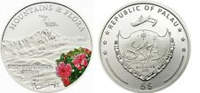 2011 Palau Large  Proof Color Silver $5 Flowers/Mount PUNCAK TRIKORA