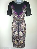 Ladies Dress Ex Julien Macdonald STAR Womens Vintage Print Shift Black Size 8