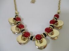Ann Taylor LOFT Red Black Bead Cut Out Gold Choker Necklace NWT $34.50