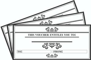 36 x Blank Vouchers Gift Certificate Cards DL Envelope Size 'Entitled To' Design