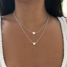 Simple Double layers chain Heart Pearl Pendant Necklace Choker Women Jewelry New