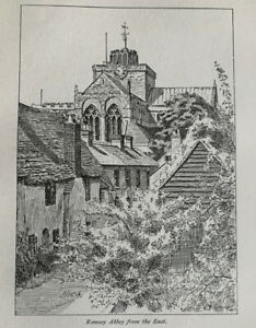 Romsey Abbey from East - Hampshire - 1919 Vintage Cutting Clipping Print