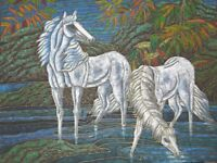 Oil Painting 36 x 48 Hand Painted Art on Canvas White Horses