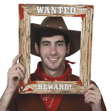 "17"" wild west wanted poster cadre photo photo prop western cowboy party 49630"
