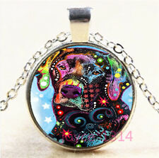 Colorful Dog Cabochon Tibetan silver Glass Chain Pendant Necklace #7159