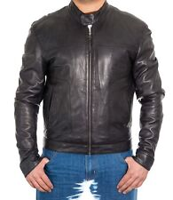 Mens Brown Tan Real Lambskin Leather Smart Motorbike Brando Dubble ZIPPED Jacket Black 5xl