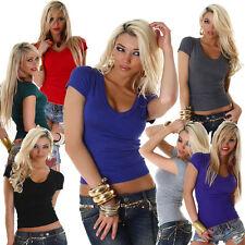 Hüftlange Damen-Shirts mit V-Ausschnitt aus Polyester