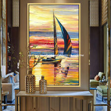 YA#714 Modern Hand-painted Scenery oil painting Small sailboat No Frame 24x48""