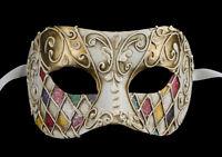Maschera Di Venezia Per Punta Arlecchino Multi Dorata Autentica Carta Cartapesta