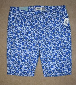 New Old Navy Bermuda Shorts Sz 2 Blue White Floral Cotton Stretch