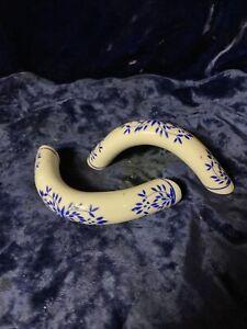 Vintage Porcelain 2 Handles White & Delft Blue Ceramic for a Bag or Basket