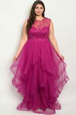 Womens Plus Size Magenta Purple Ruffled Gown Maxi Dress 2XL Beaded Formal