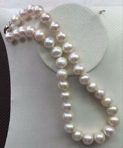 11-12mm Australian SOUTH SEA NATURAL WHITE PEARL NECKLACE 18inch