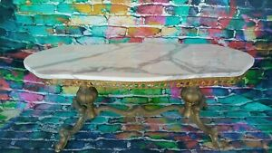 Marble Coffee Table / Vintage Brass Base / New Marble Top