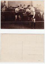 Boxer b. Wettkampf im Ring sporty wrestler male half nude Kraftsport RPPC c.1925