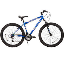 """NEW Huffy Mountain Bike 26"""" Blue Fat Tire Men's Trail Bicycle Shimano 18 Speed"""