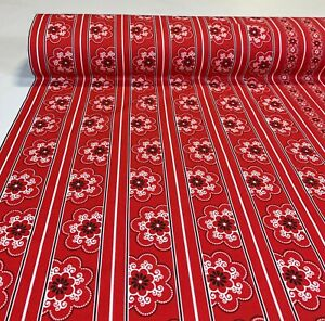 "100% Cotton Bandanna Quilt Fabric Red Floral Stripe 45""W Robert Kaufman"