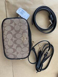 Coach F79209 Small Signature Khaki/Black Coated Canvas Leather Belt Bag Handbag