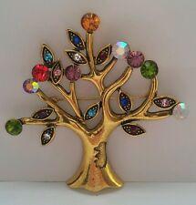 Tree of Life Brooch Multi Coloured Crystal Gold Tone Brooch UK