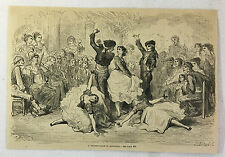 1880 magazine engraving ~ WEDDING-DANCE IN ANDALUSIA, Spain