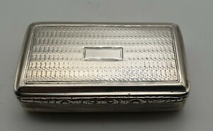GOOD CONDITION QUALITY ANTIQUE STERLING SILVER SNUFF BOX BIRMINGHAM 1834