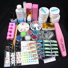 Pro Nail Art Kit Set Acrylic Glitter Powder Glue French UV Gel Brush Sticker Set