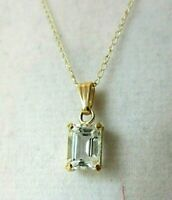 "18"" 14 Kt. Yellow Gold Fine Chain & 14 Kt. Pendant With Clear Stone"