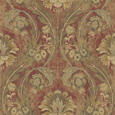 Crimson Gold Bronze Bold Victorian Arts Crafts Classic Double Roll Wallpaper